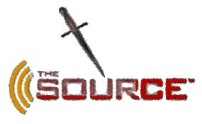 Source logo with dagger